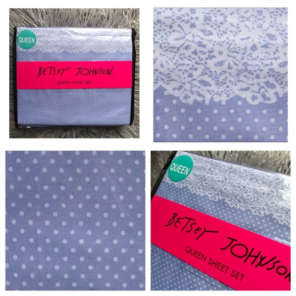 Betsey Johnson Other - Betsey Johnson Periwinkle Dot Lace Queen Sheet Set